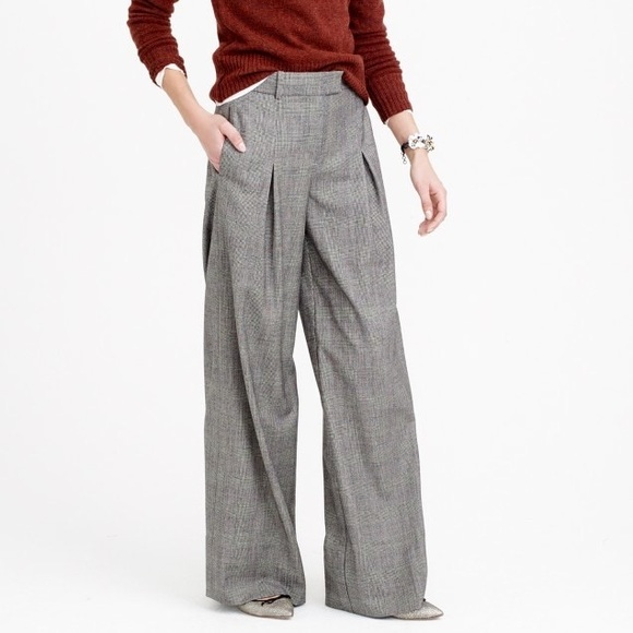 804c6aee2a1 J. Crew Pants - J Crew Wide-leg pant in glen plaid wool